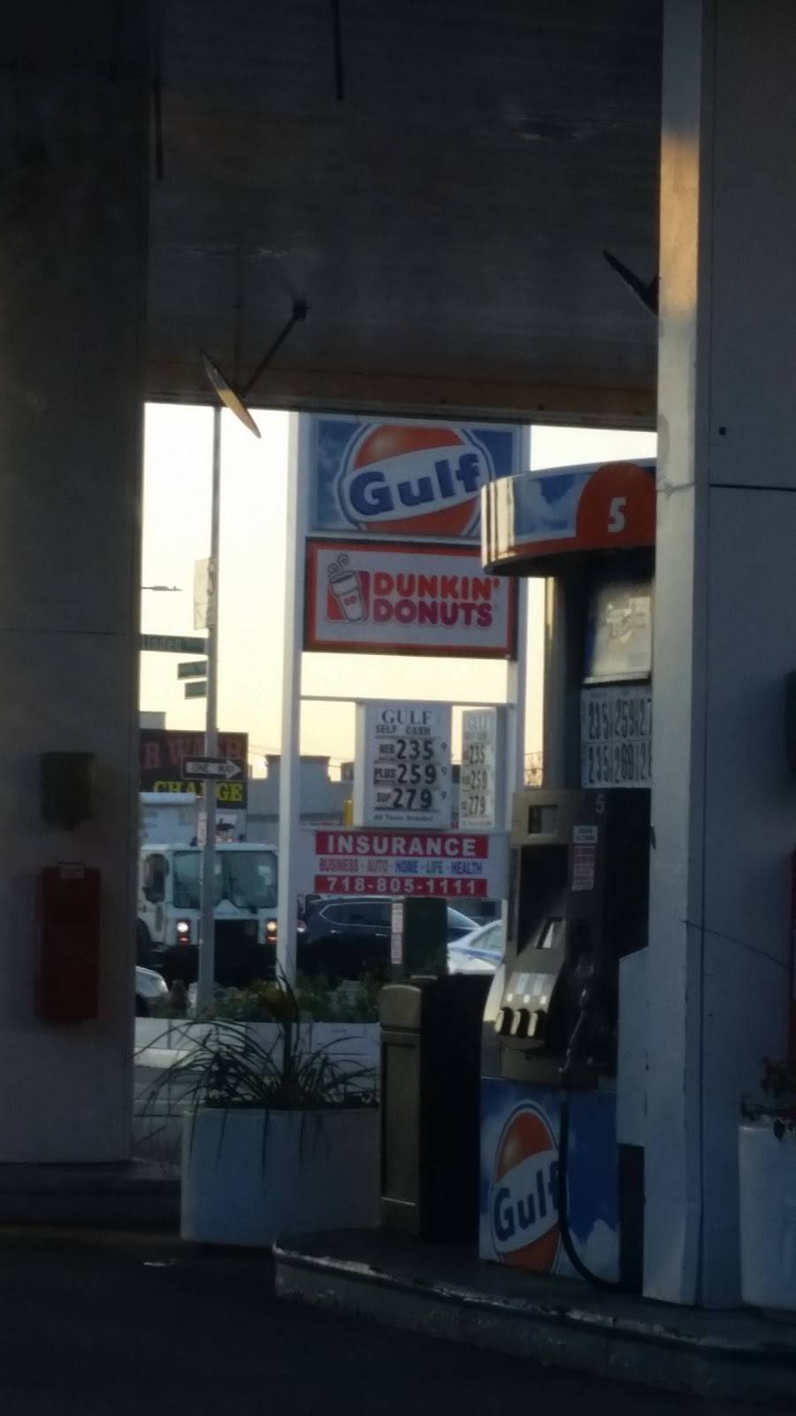 Dunkin Donuts | cafe | Gulf Gas Station, 1939 Linden Blvd, Brooklyn, NY 11207, USA | 7182725801 OR +1 718-272-5801