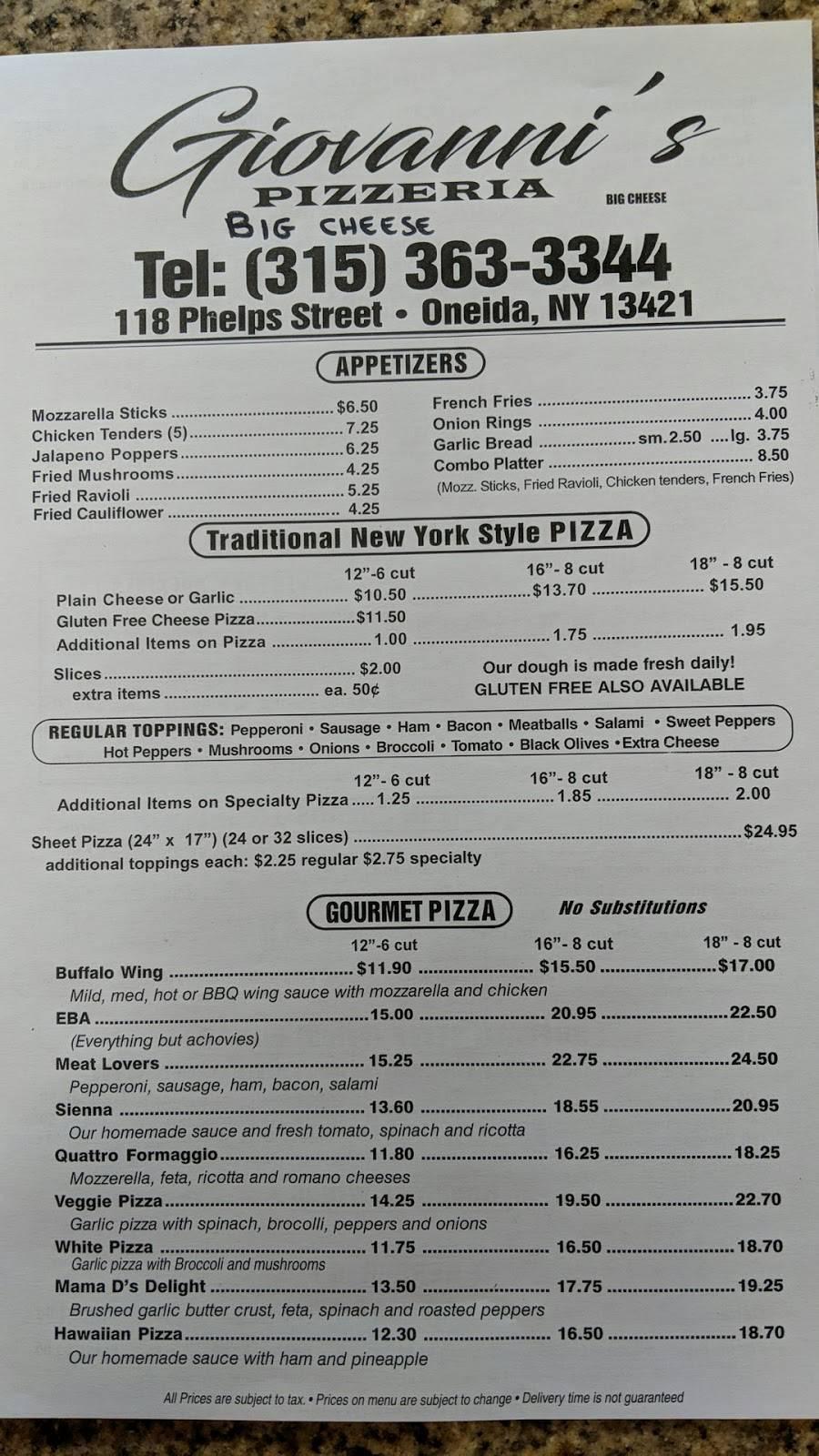 Giovannis big cheese pizzeria oneida ny | restaurant | 118 Phelps St, Oneida, NY 13421, USA | 3153633344 OR +1 315-363-3344