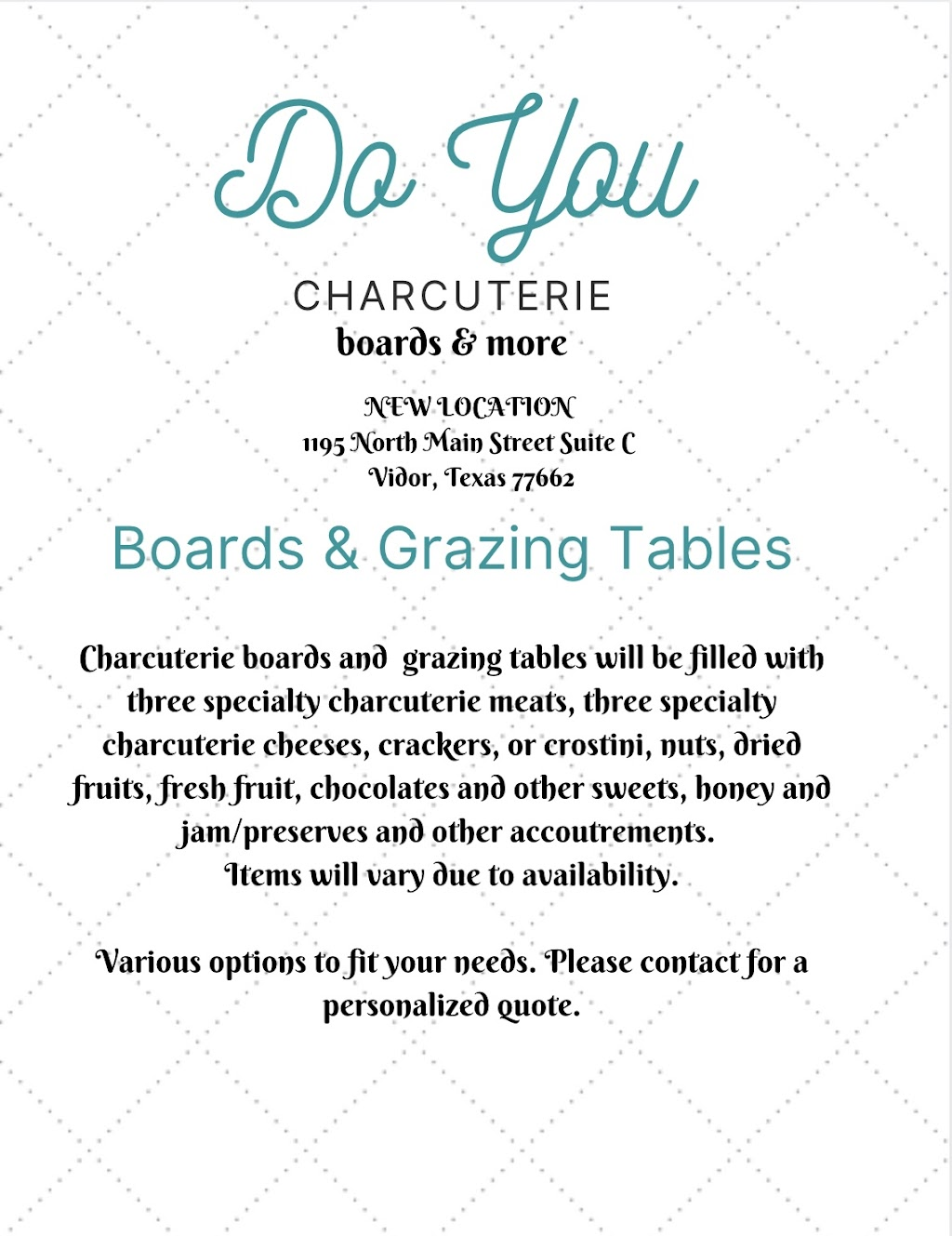 Do You Charcuterie? | meal delivery | 1195 N Main St suite c, Vidor, TX 77662, USA | 4094541592 OR +1 409-454-1592