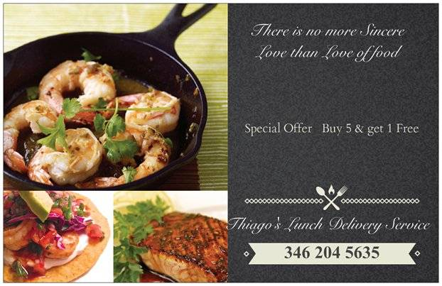 THIAGOS LUNCH Delivery Service | meal delivery | 8103 Grow Ln, Houston, TX 77040, USA | 3462045635 OR +1 346-204-5635