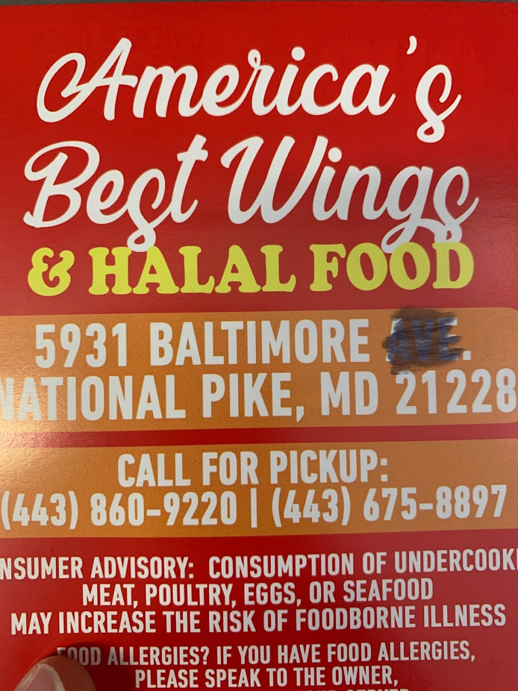 Americas Best Wings Halal Food   restaurant   5931 Baltimore National Pike, Catonsville, MD 21228, USA
