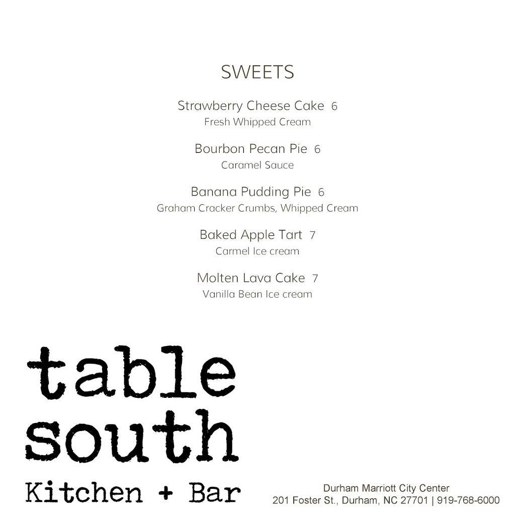 Table South Kitchen Amp Bar Restaurant 201 Foster St Durham Nc 27701 Usa