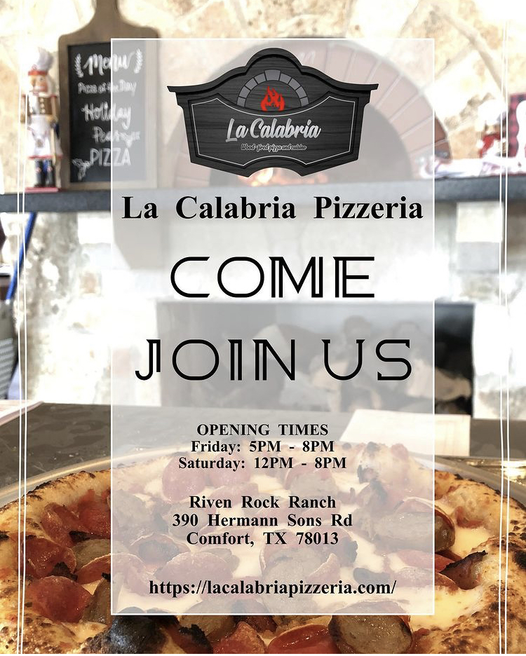 La Calabria Pizzeria | restaurant | Located inside Riven Rock Ranch, 390 Hermann Sons Rd, Comfort, TX 78013, USA | 2108277202 OR +1 210-827-7202