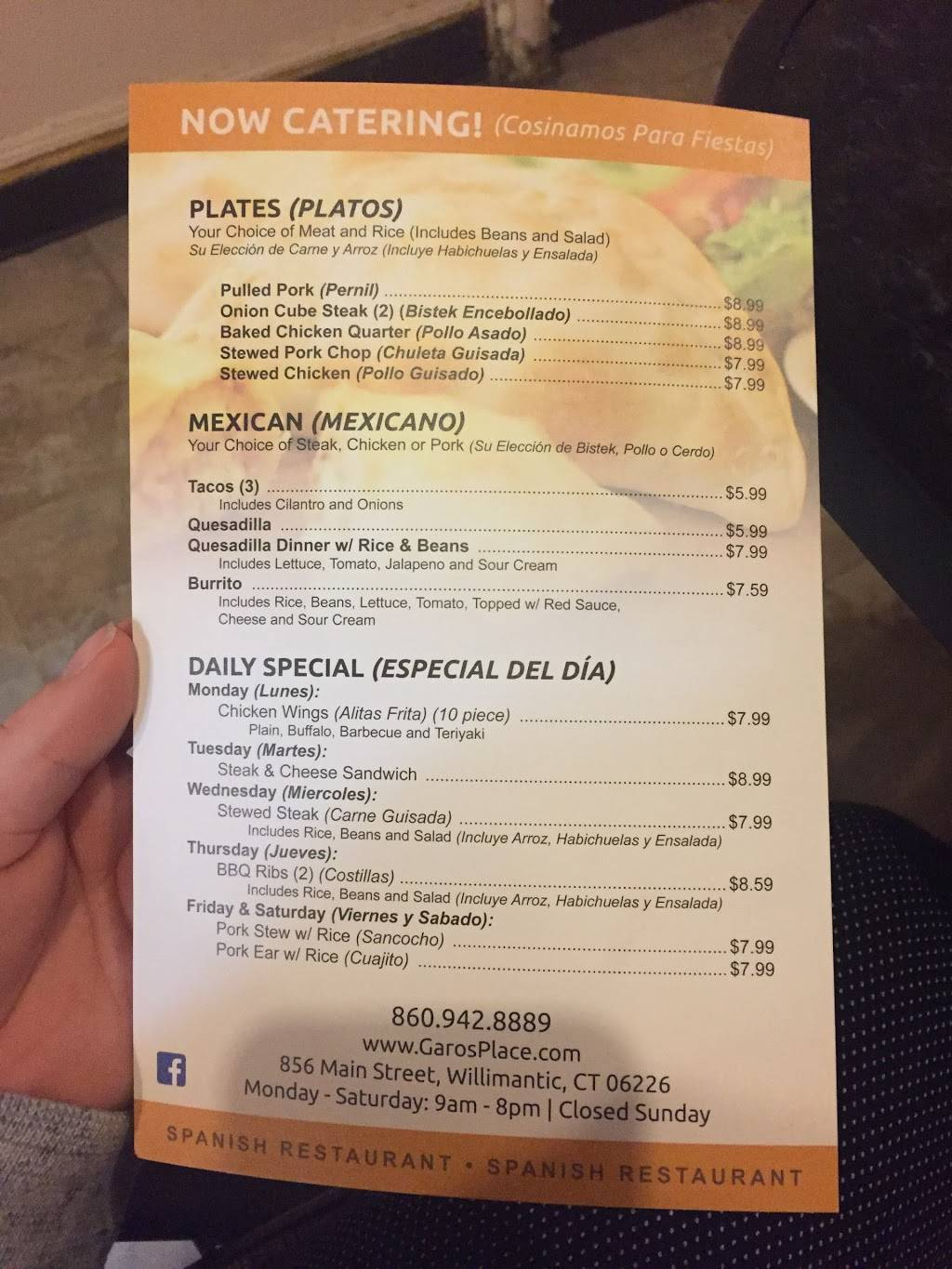 Garos Place   restaurant   856 Main St, Willimantic, CT 06226, USA   8609428889 OR +1 860-942-8889