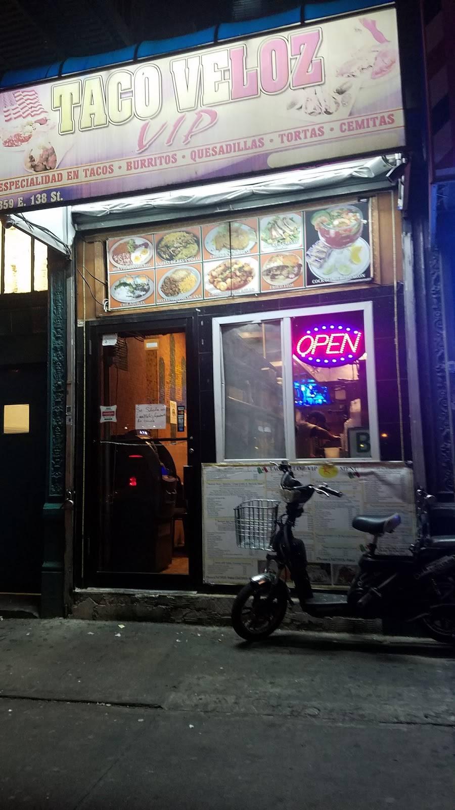 Taco Veloz VIP   restaurant   359 E 138th St, Bronx, NY 10454, USA   3479189466 OR +1 347-918-9466