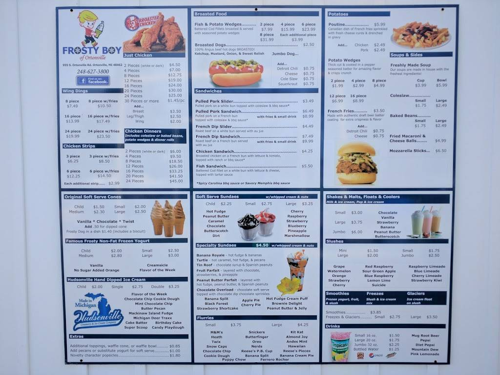 Frosty Boy of Ortonville   restaurant   8665, 955 S Ortonville Rd, Ortonville, MI 48462, USA   2486273800 OR +1 248-627-3800