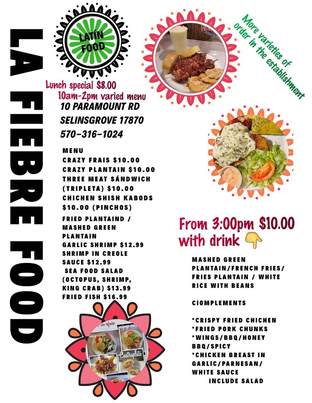 La Fiebre Food Truck | restaurant | 10 Paramount Rd, Selinsgrove, PA 17870, USA | 5703161024 OR +1 570-316-1024