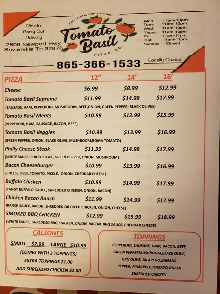 Tomato Basil | restaurant | 2509 Newport Hwy, Sevierville, TN 37876, USA | 8653661533 OR +1 865-366-1533