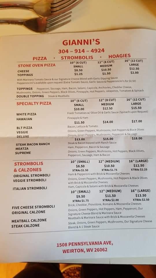 Giannis | restaurant | 1508 Pennsylvania Ave, Weirton, WV 26062, USA | 3049144924 OR +1 304-914-4924