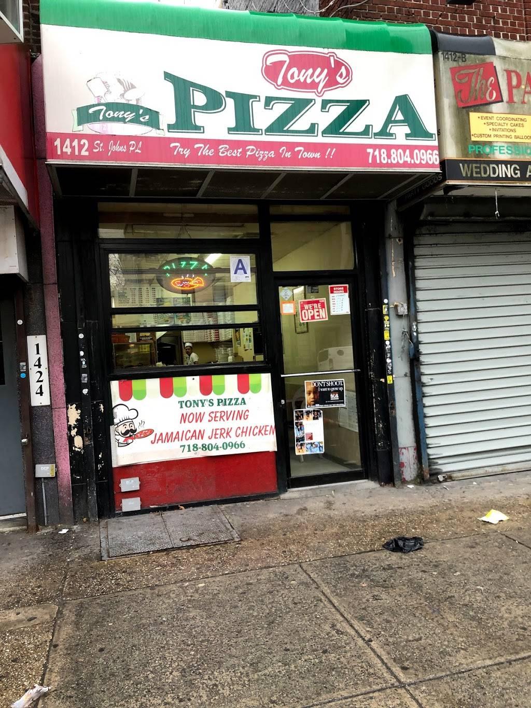 Tonys pizza | restaurant | 1412 St Johns Pl, Brooklyn, NY 11213, USA