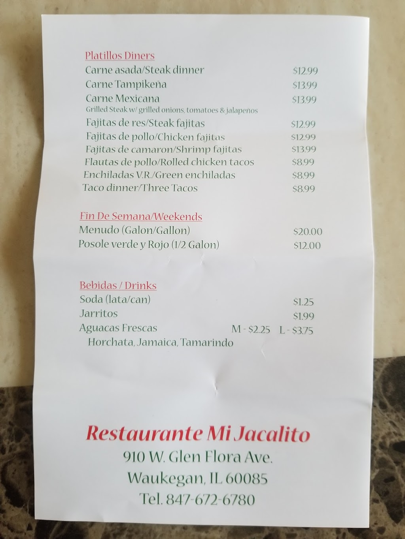 Mi Jacalito Restaurant | restaurant | 910 W Glen Flora Ave, Waukegan, IL 60085, USA | 8476726780 OR +1 847-672-6780