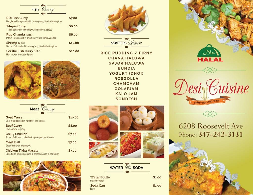 Desi Cuisine | restaurant | 6208 Roosevelt Ave, Woodside, NY 11377, USA | 3472423131 OR +1 347-242-3131