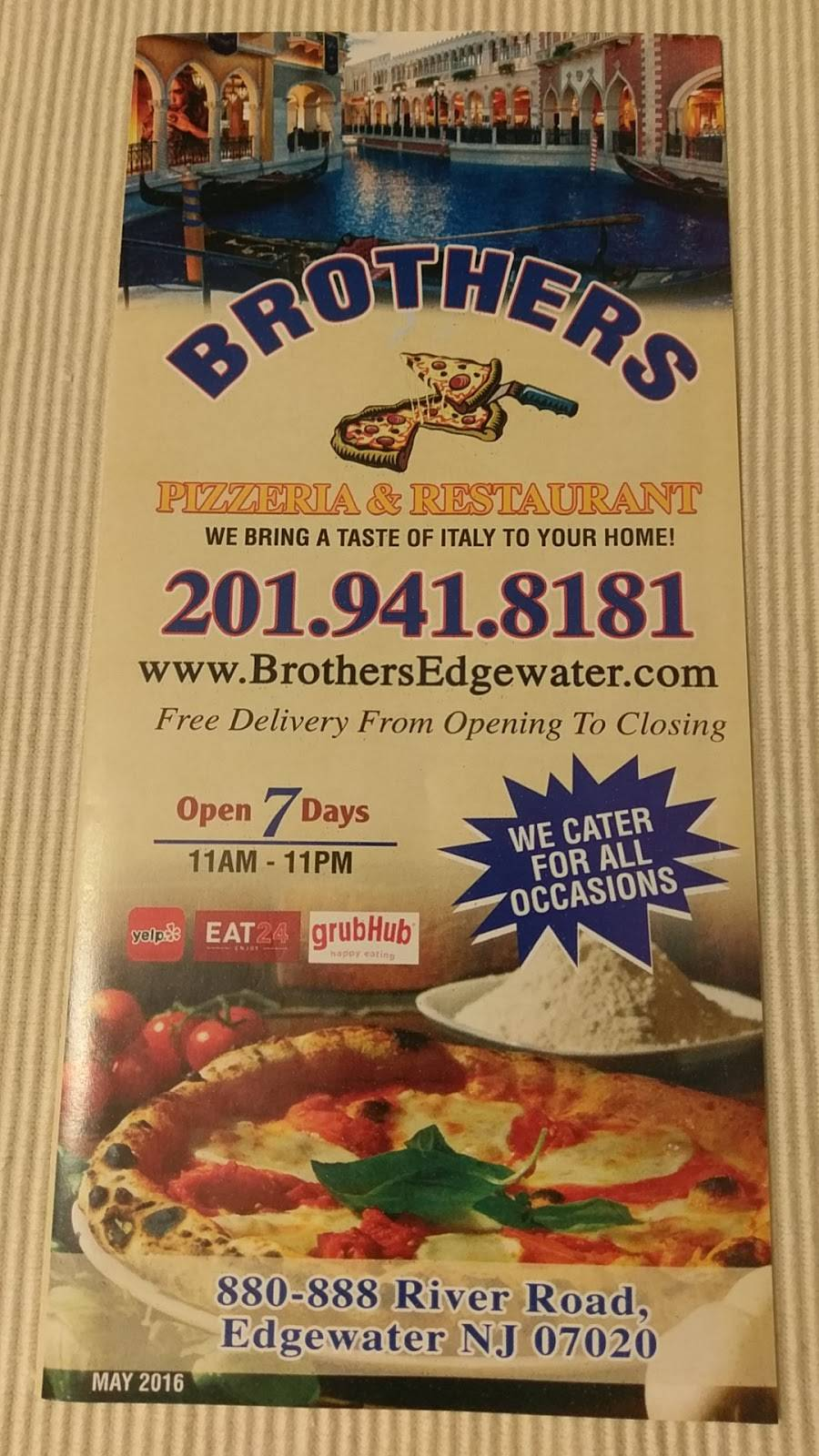 Brothers Pizzeria & Restaurant | meal delivery | 880 River Rd, Edgewater, NJ 07020, USA | 2019418181 OR +1 201-941-8181