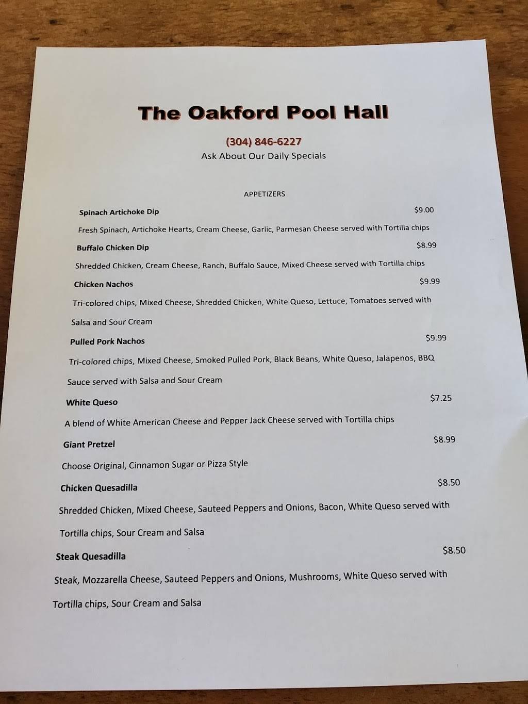 THE OAKFORD POOL HALL LLC   restaurant   38 Oakford Ave, Richwood, WV 26261, USA   3048466227 OR +1 304-846-6227