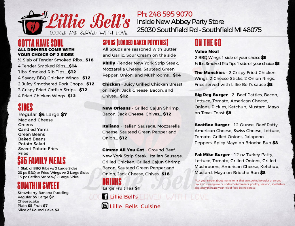 Lillie Bells | restaurant | 25030 Southfield Rd, Southfield, MI 48075, USA | 2485959070 OR +1 248-595-9070