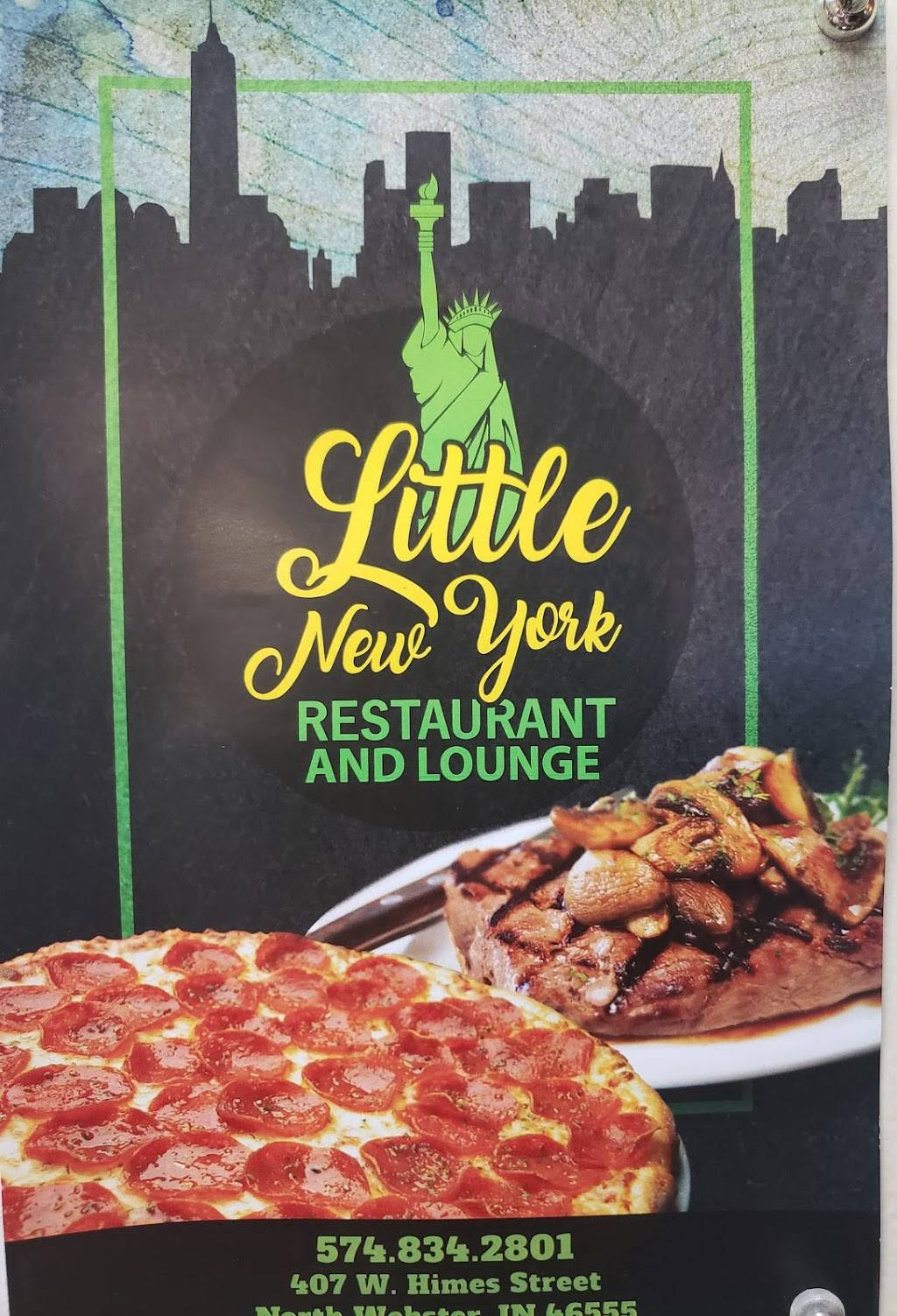 Little New York Restaurant and Lounge | restaurant | 407 W Himes St, North Webster, IN 46555, USA | 5748342801 OR +1 574-834-2801