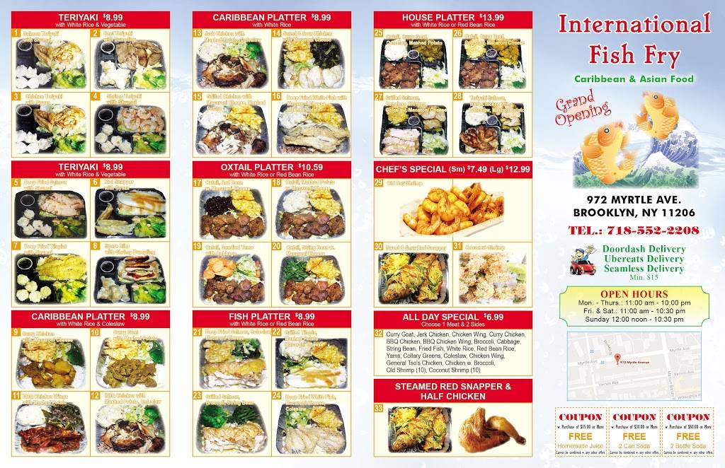 International Fish Fry | restaurant | 6663, 972 Myrtle Ave, Brooklyn, NY 11206, USA | 3475339191 OR +1 347-533-9191