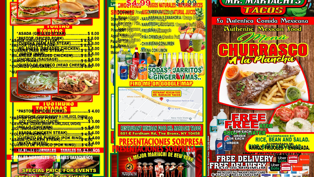 RESTAURANT MEXICAN FOOD MR. MARIACHI TACOS | restaurant | 601 E Fordham Rd, The Bronx, NY 10458, USA | 3473576545 OR +1 347-357-6545
