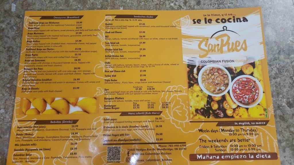 SanPues Colombian Kitchen | restaurant | 12425 Hedges Run Dr, Lake Ridge, VA 22192, USA | 7034906798 OR +1 703-490-6798