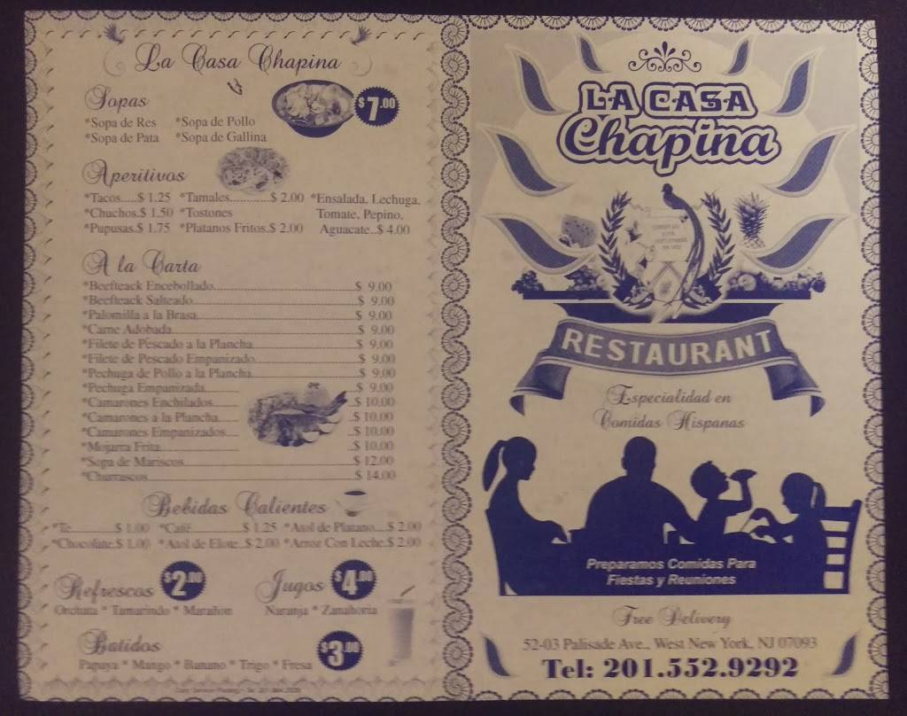 La Casa Chapina | restaurant | 5203 Palisade Ave, West New York, NJ 07093, USA | 2015529292 OR +1 201-552-9292