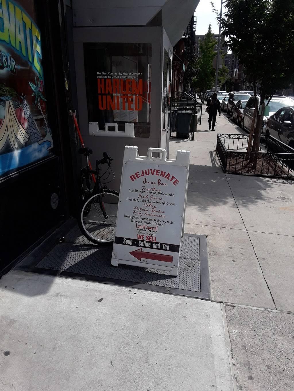 Rejuvenate Juice bar | restaurant | 171 W 133rd St, New York, NY 10030, USA | 2123901650 OR +1 212-390-1650