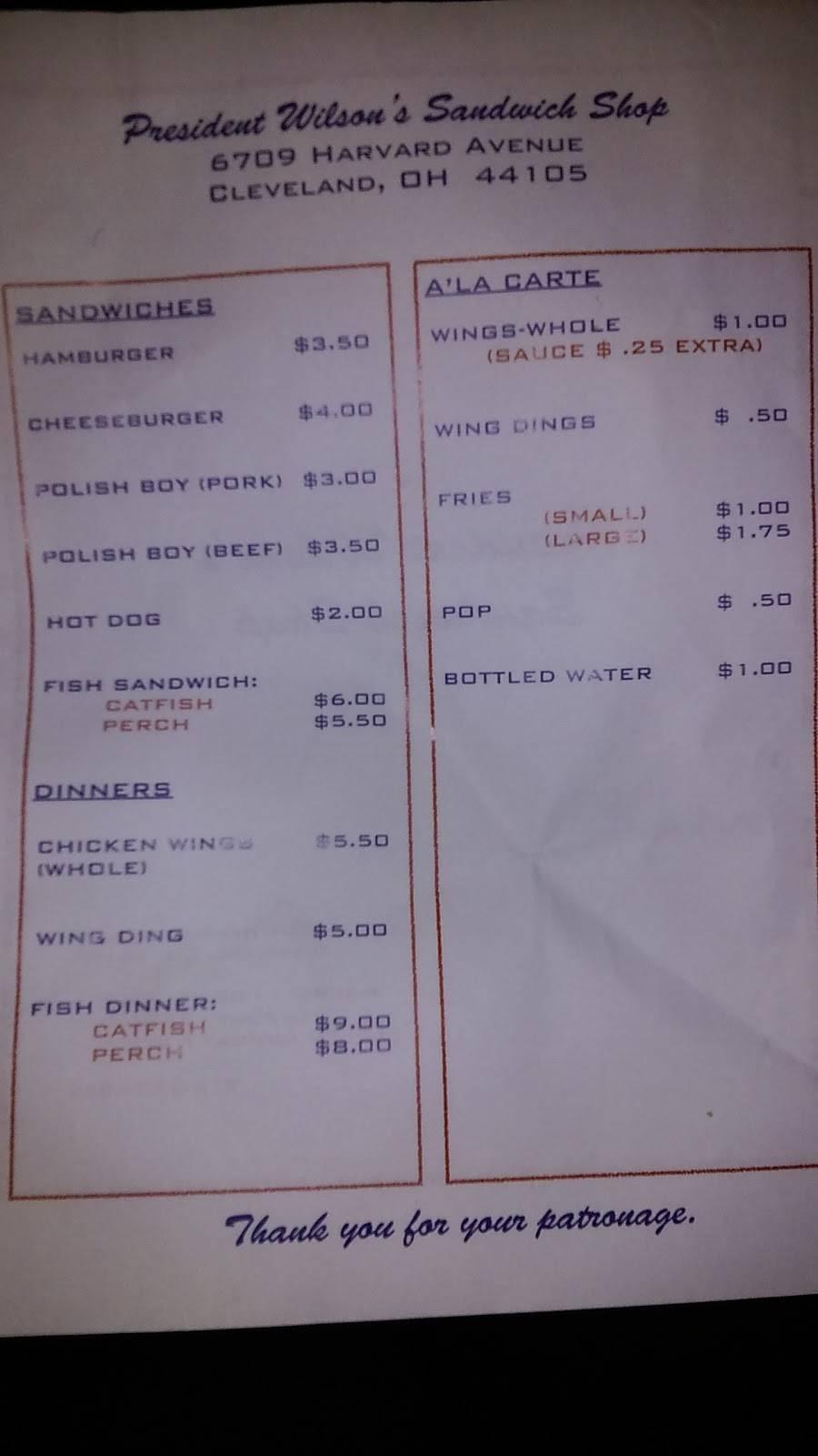 President Wilsons Sandwich Shop   restaurant   6709 Harvard Ave, Cleveland, OH 44105, USA   2163506552 OR +1 216-350-6552