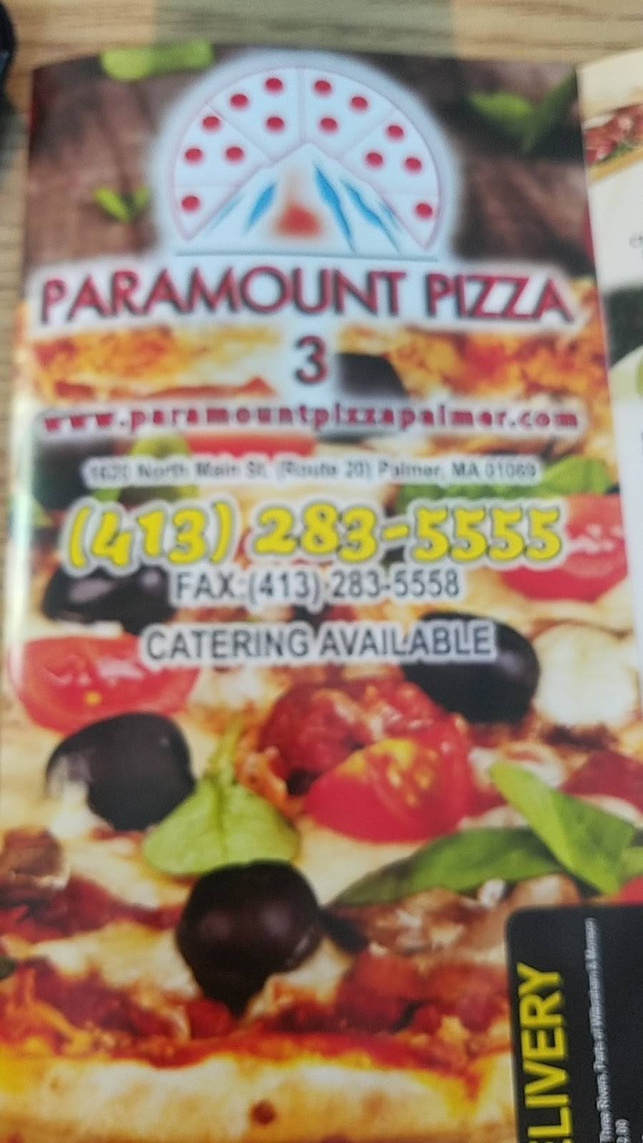 Paramount Pizza 3 | meal delivery | 1620 N Main St, Palmer, MA 01069, USA | 4132835555 OR +1 413-283-5555