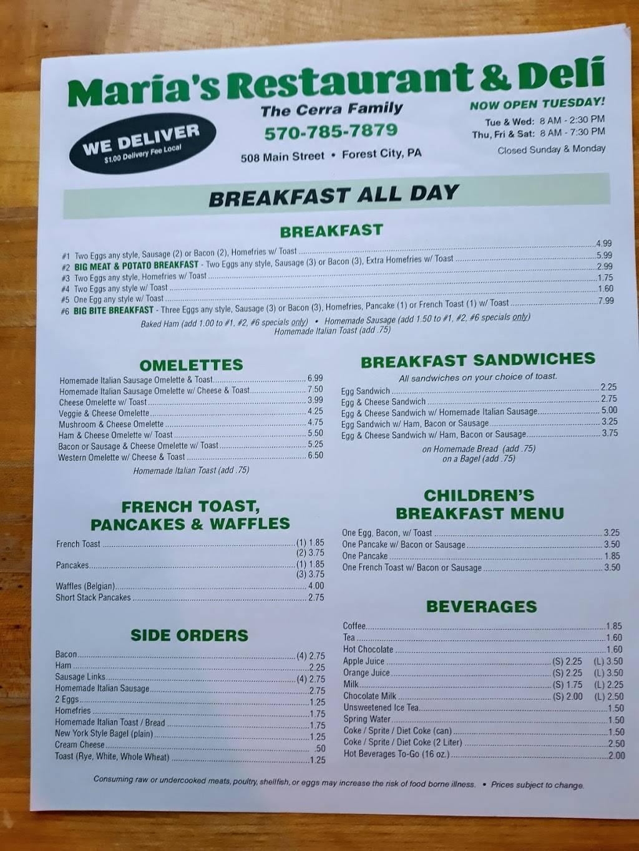 Maria's Restaurant & Deli | restaurant | 508 N Main St, Forest City, PA 18421, USA | 5707857879 OR +1 570-785-7879