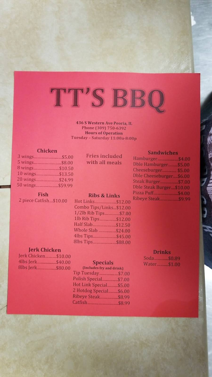 T Ts Barbecue | restaurant | 436 South Western Avenue, Peoria, IL 61605, USA | 3097506392 OR +1 309-750-6392