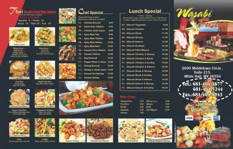 wasabi fusion   restaurant   2600 Middletown Cir suite 215, White Hall, WV 26554, USA   6814045677 OR +1 681-404-5677