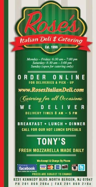 Roses Italian Deli | meal delivery | 8231 John F. Kennedy Blvd, North Bergen, NJ 07047, USA | 2018692984 OR +1 201-869-2984