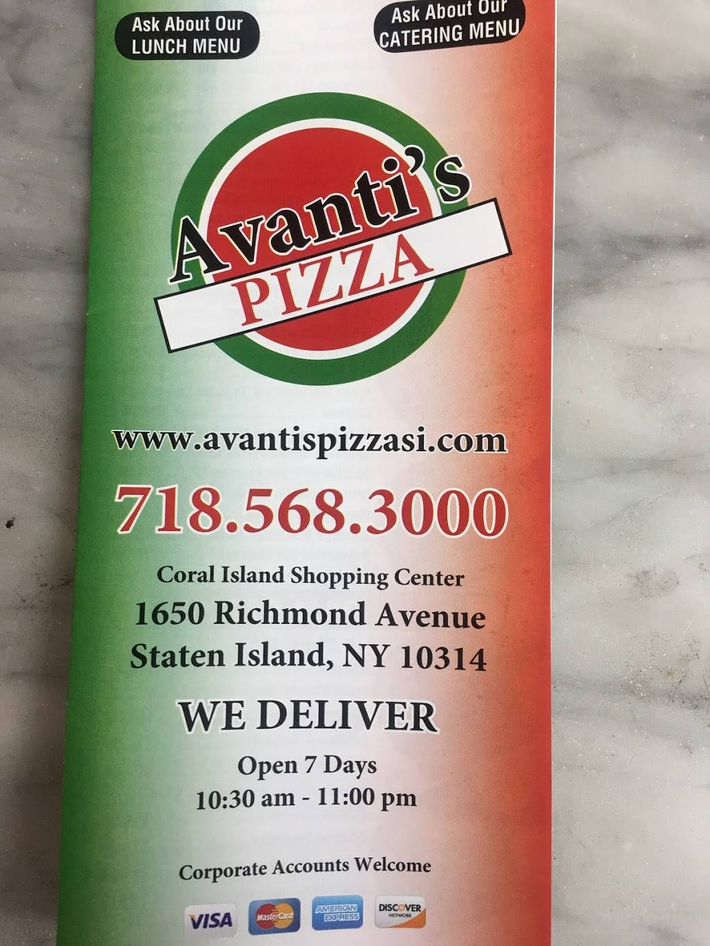 Avantis Pizza | meal delivery | 1650 Richmond Ave, Staten Island, NY 10314, USA | 7185683000 OR +1 718-568-3000