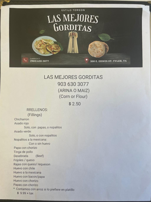 Las Mejores Gorditas | restaurant | 500 E Erwin St, Tyler, TX 75702, USA | 9036303077 OR +1 903-630-3077