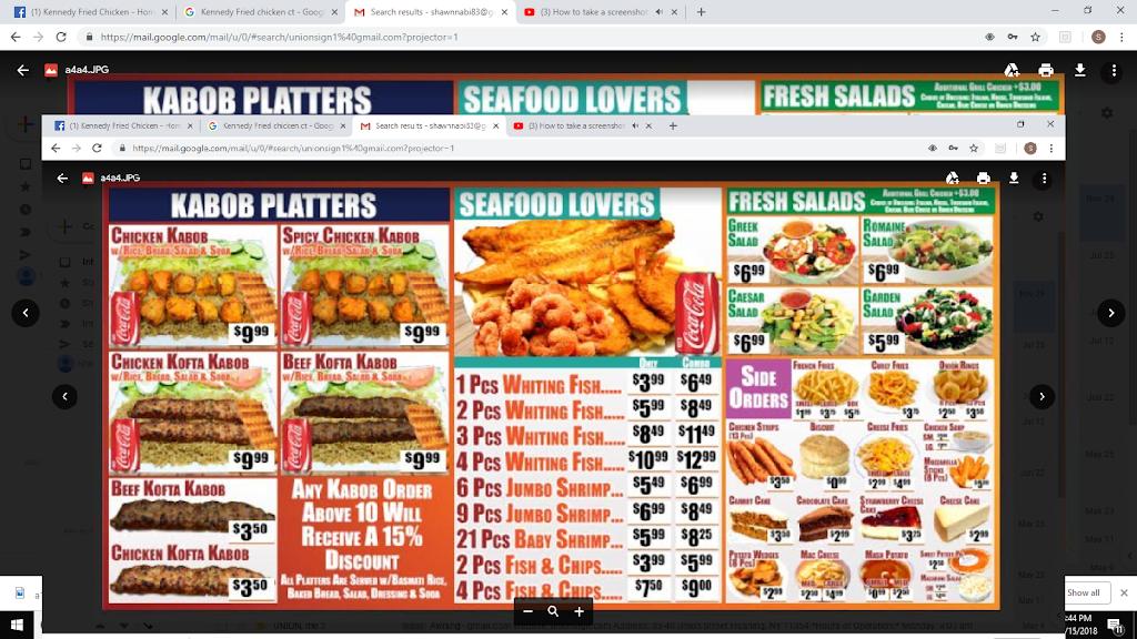 Kennedy Fried Chicken | restaurant | 618 Blue Hills Ave, Hartford, CT 06112, USA | 8602424818 OR +1 860-242-4818