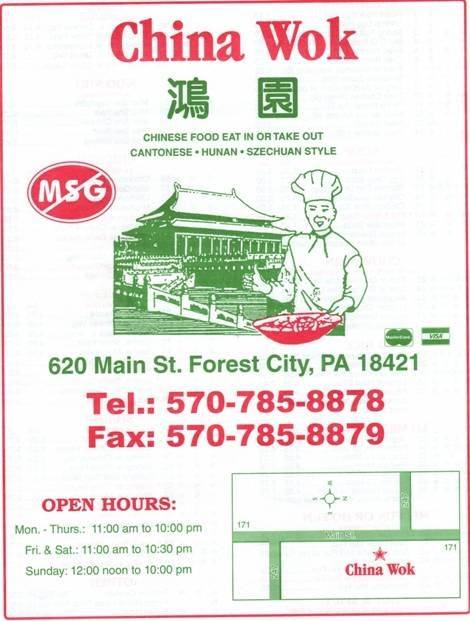 CHINA WOK   restaurant   620 Main St, Forest City, PA 18421, USA   5707858878 OR +1 570-785-8878