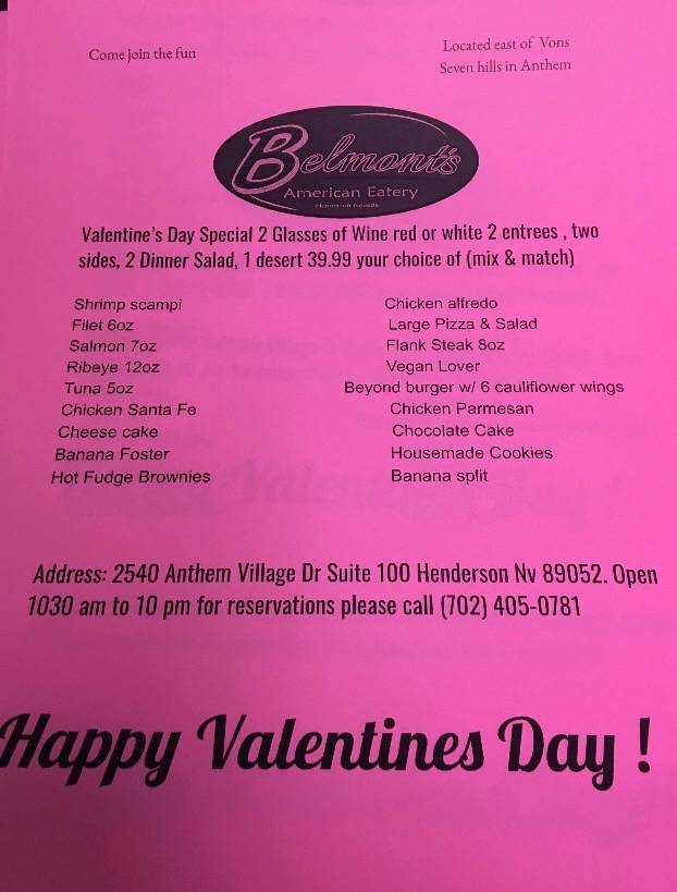 Belmonts American Eatery | restaurant | 2540 Anthem Village Dr suite 100, Henderson, NV 89052, USA | 7024050781 OR +1 702-405-0781