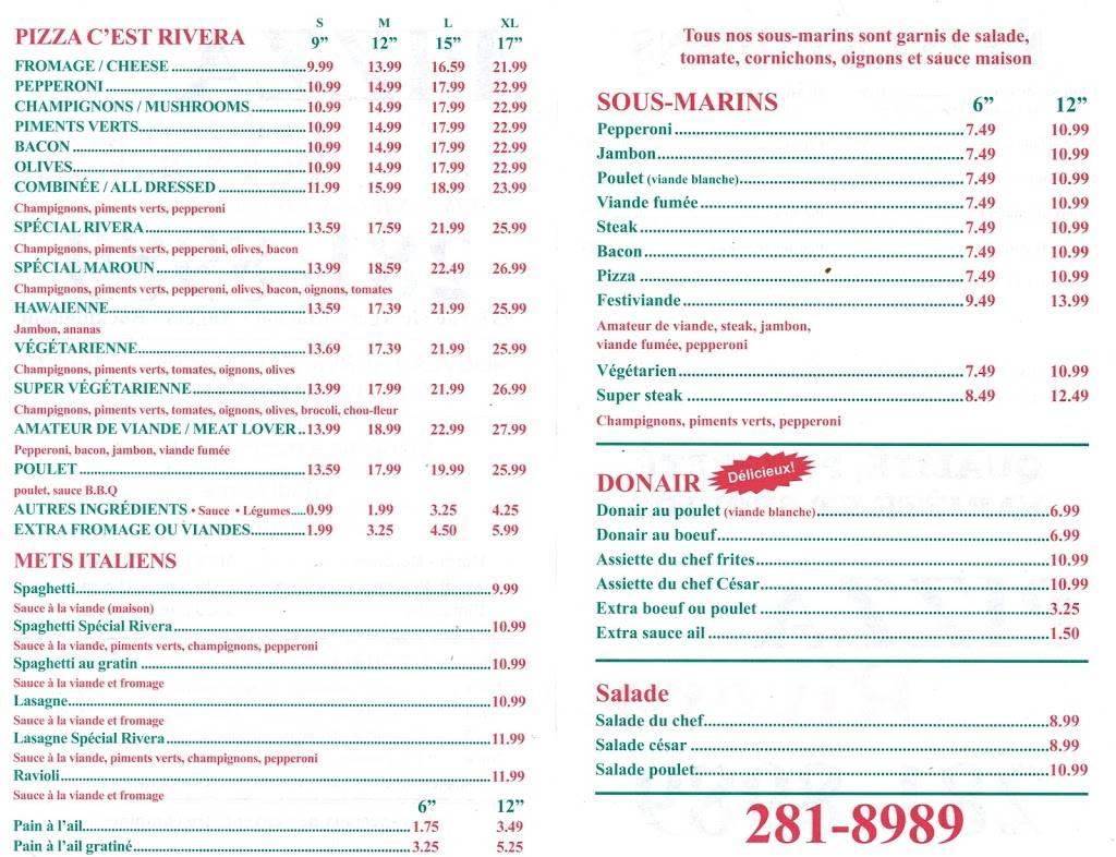 Rivera Pizza Buckingham | restaurant | 937 Rue Georges, Gatineau, QC J8L 2E4, Canada | 8192818989 OR +1 819-281-8989