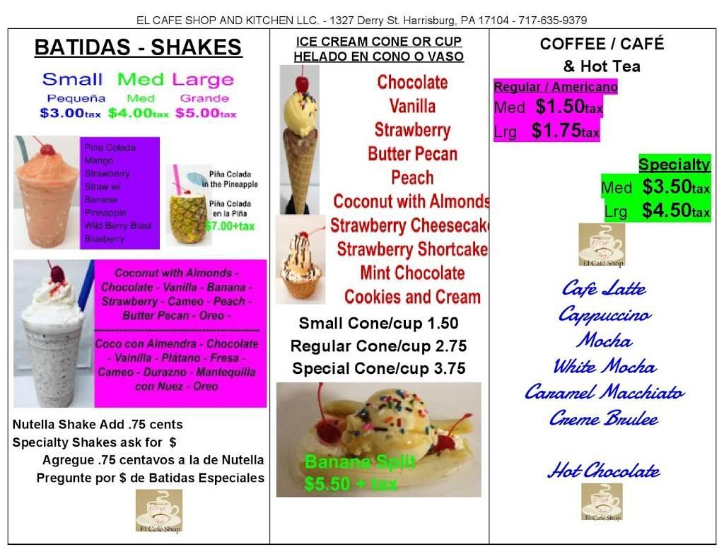 El Cafe Shop and Kitchen LLC | cafe | 1327 Derry St, Harrisburg, PA 17104, USA | 7176359379 OR +1 717-635-9379