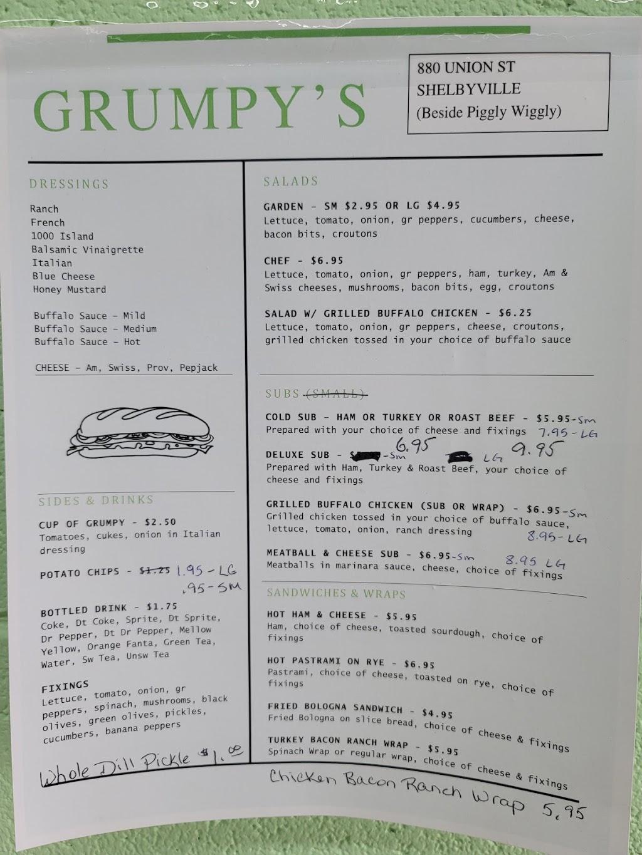 Grumpys Subs & Salads | restaurant | 880 Union St, Shelbyville, TN 37160, USA | 9317356970 OR +1 931-735-6970