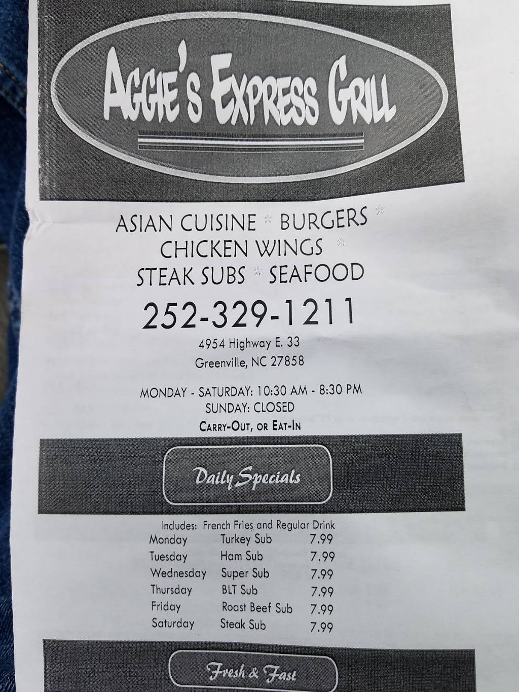 Aggies Express grill | restaurant | 4954 NC-33, Greenville, NC 27858, USA | 2523291211 OR +1 252-329-1211