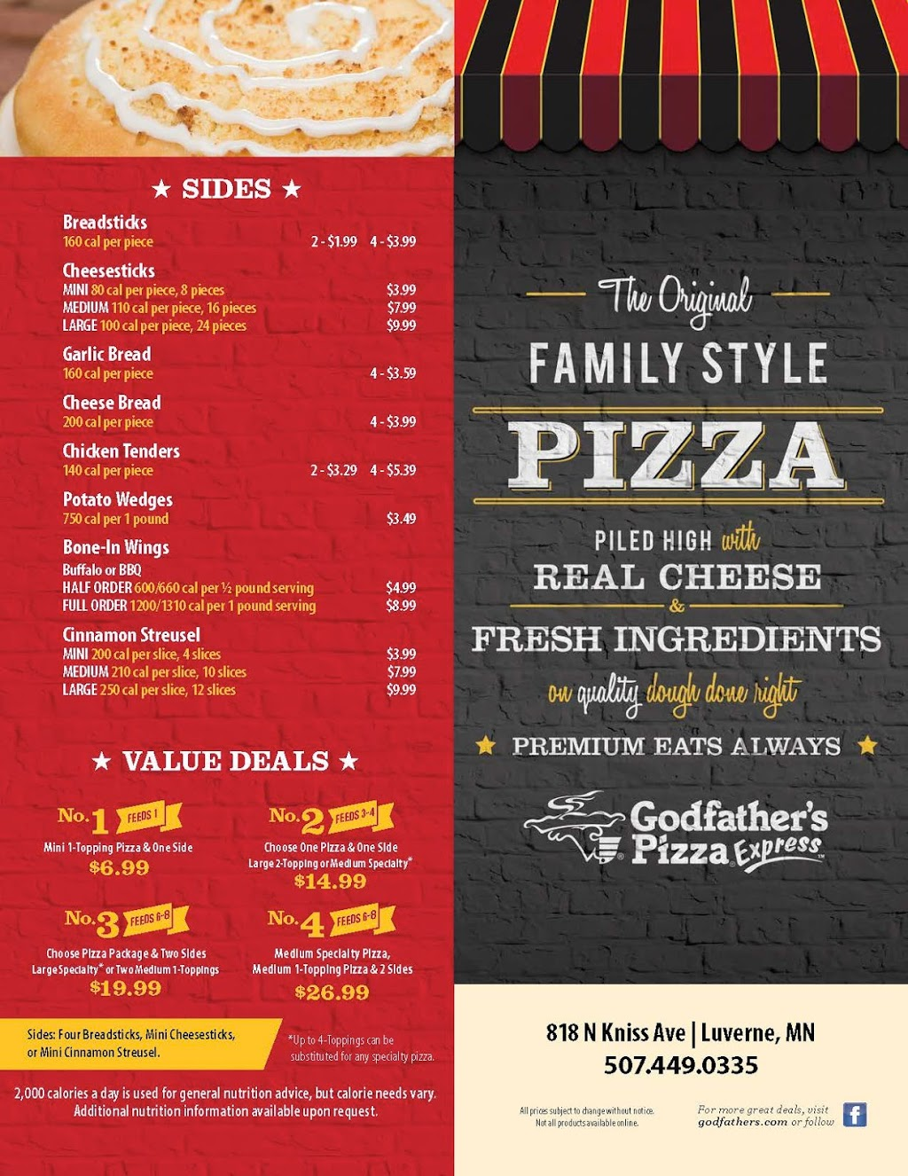 Godfathers Pizza Express | meal delivery | 818 N Kniss Ave, Luverne, MN 56156, USA | 5074490335 OR +1 507-449-0335