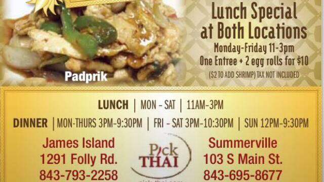 Pick Thai Restaurant | restaurant | 1291 Folly Rd Unit 122, Charleston, SC 29412, USA | 8437932258 OR +1 843-793-2258