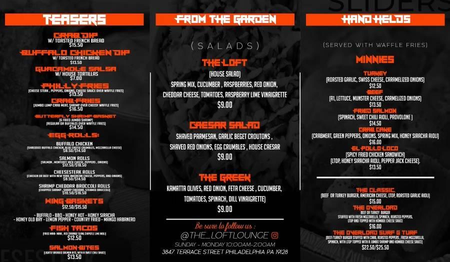 The Loft Lounge | restaurant | 3847 Terrace St, Philadelphia, PA 19128, USA | 2156905505 OR +1 215-690-5505