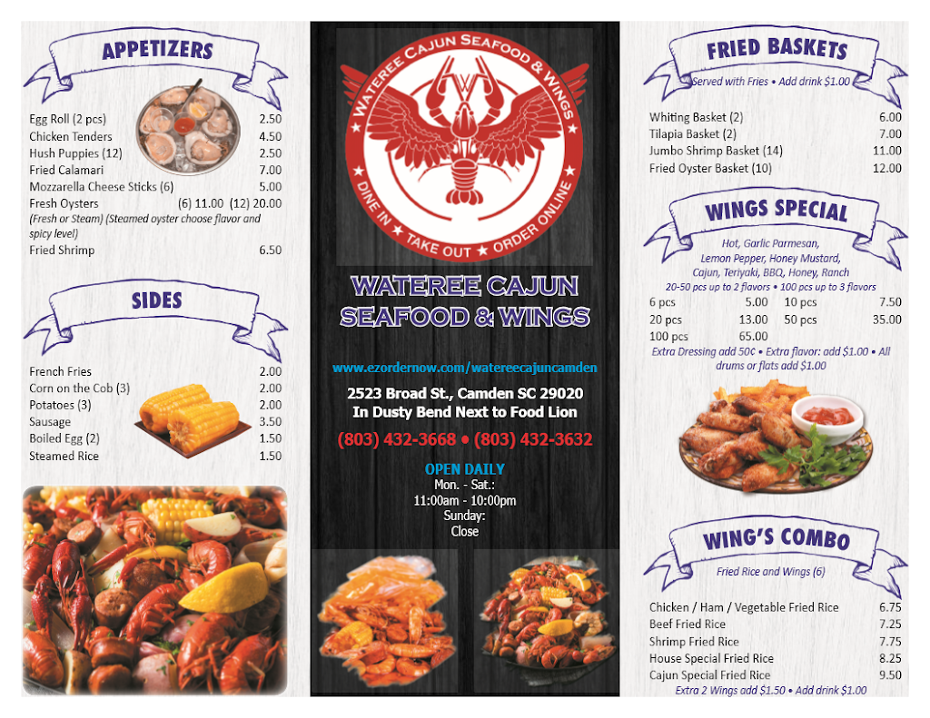 Wateree Cajun Seafood and Wings   restaurant   2523 Broad St, Camden, SC 29020, USA   8034323668 OR +1 803-432-3668