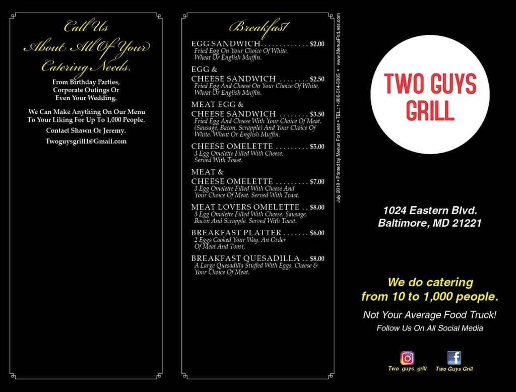 Two Guys Grill   restaurant   1024 Eastern Blvd, Essex, MD 21221, USA   4438242775 OR +1 443-824-2775