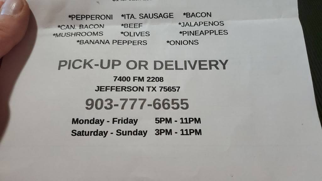 4 Corners Pizza | restaurant | 7400, FM2208, Jefferson, TX 75657, USA | 9037776655 OR +1 903-777-6655