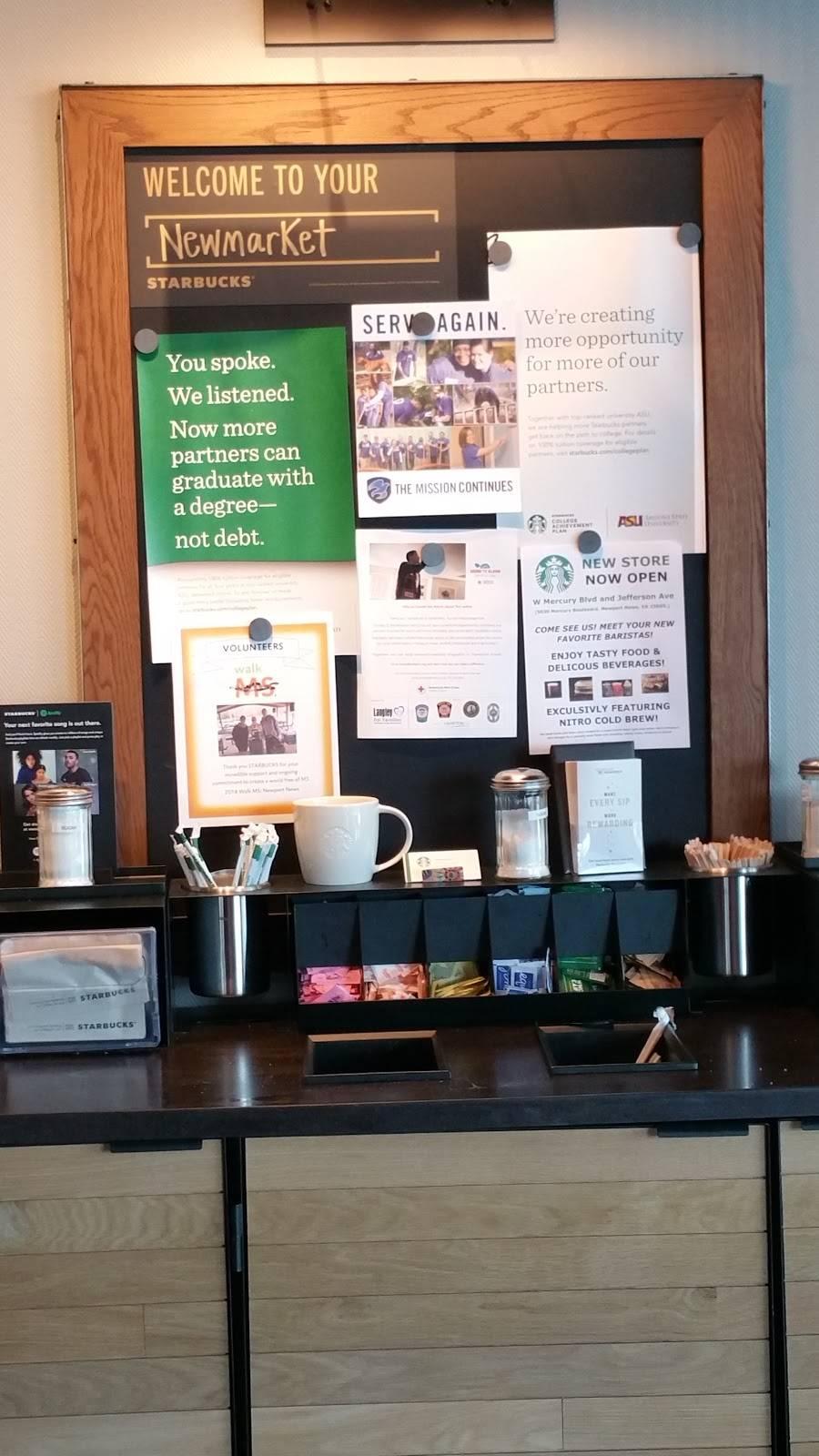 Starbucks | cafe | 5030 W Mercury Blvd, Newport News, VA 23605, USA | 7578383801 OR +1 757-838-3801