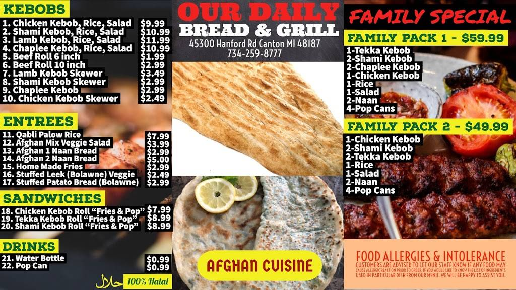 OUR DAILY BREAD & GRILL | restaurant | 45300 Hanford Rd, Canton, MI 48187, USA | 7342598777 OR +1 734-259-8777