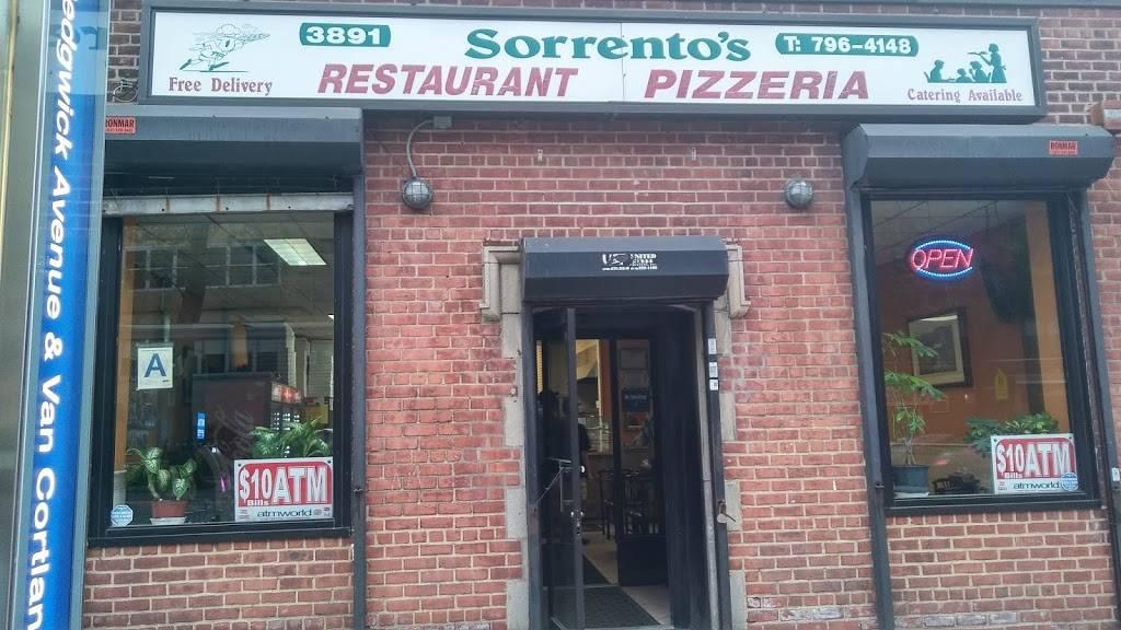 Sorrentos | restaurant | 3891 Sedgwick Ave, Bronx, NY 10463, USA | 7187964148 OR +1 718-796-4148