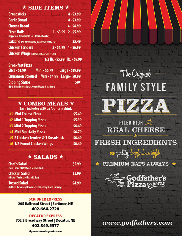 Godfathers Pizza Express | meal delivery | 702 S Broadway, Decatur, NE 68020, USA | 4023495577 OR +1 402-349-5577